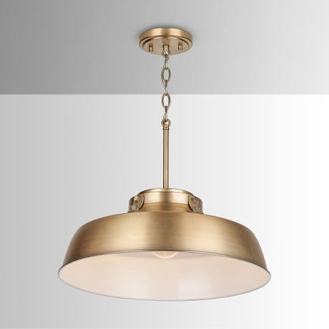 1-light Aged Brass Pendant Fixture - Aged Brass - Aged Brass