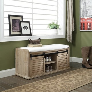 Matlock Natural 4-shelf Bench with 2 Sliding Doors