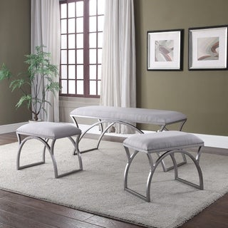 Filey Grey Benches with Cushion (Set of 3)