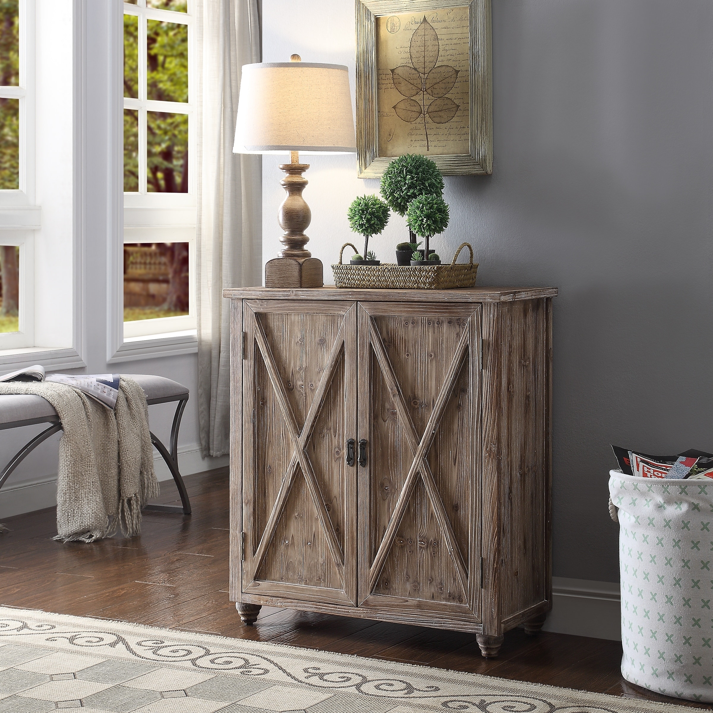 Fleetwood Wash Brown X Front Cabinet With 2 Swing Doors