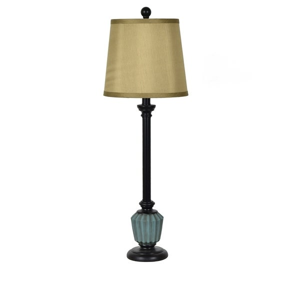 Marlow Blue and Black 29.5-inch Resin Tapered Drum Buffet Lamp. Opens flyout.