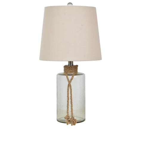 Midsomer Clear 23-inch Glass and Rope Tapered Drum Table Lamp