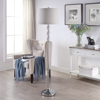 Chrome 62 5 Inch Ceramic And Stainless Steel Tapered Drum Floor Lamp