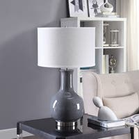 26.5-inch Ceramic and Stainless Steel Drum Table Lamp