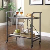 Annabella Natural and Black 2-shelf Bar Cart with Casters