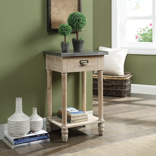 Enfield Antique Silver and Natural 1-drawer End Table