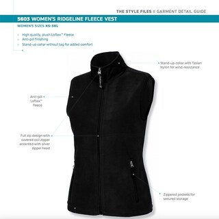 Charles River Apparel Womens Classic Fleece Vest, Black