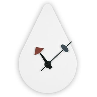 LeisureMod Modern White raindrop Silent Non-Ticking Wall Clock