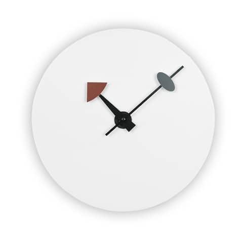 LeisureMod Manchester Modern White Round Silent Non-Ticking Wall Clock