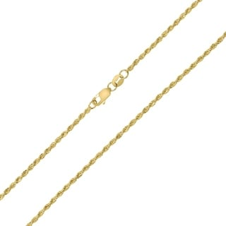 10K Yellow Gold 1 5MM Sparkle Rope Chain With Lobster Clasp 16 Inch