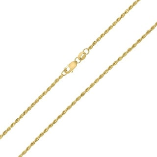 10K Yellow Gold 1.5MM Sparkle Rope Chain With Lobster Clasp - 16 Inch