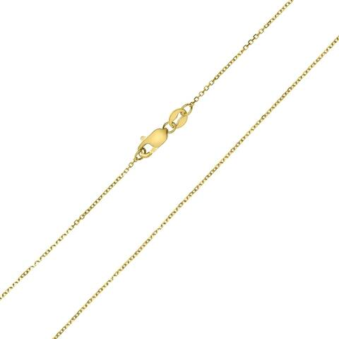 10K Yellow Gold 0.8MM Shiny Cable Chain with Lobster Clasp - 18 Inch