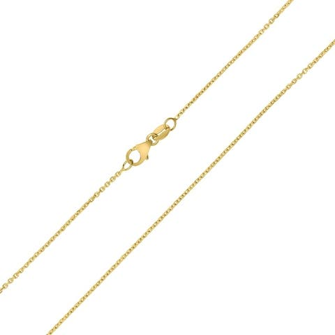 10K Yellow Gold 1.1MM Shiny Cable Chain with Lobster Clasp - 16 Inch