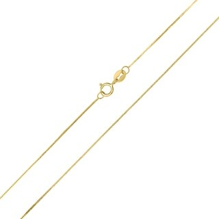 10K Yellow Gold 0.45MM Shiny Box Chain with Spring Ring Clasp - 20 Inch