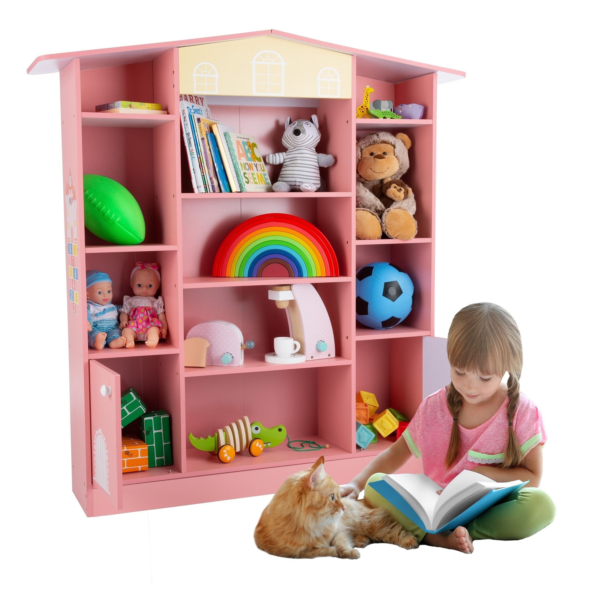 Dollhouse Shaped Bookcase Cottage Design Furniture For Books Or Toys For Children S Bedroom Or Playroom By Hey Play Pink