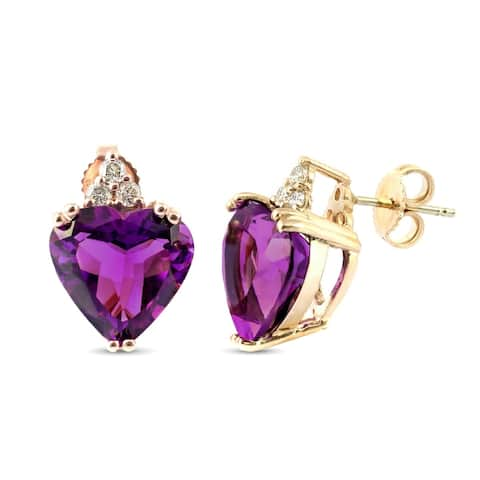 14K Yellow Gold 7.88ct TGW Amethyst Heart and Diamonds One-of-a-Kind Earrings