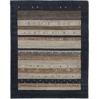 ECARPETGALLERY  Hand-knotted Kashkuli Gabbeh Dark Navy, Grey Wool Rug - 8'0 x 10'0