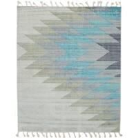 ECARPETGALLERY  Flat-weave Kalista Grey, Light Blue  Silk, Wool Kilim - 7'10 x 9'10