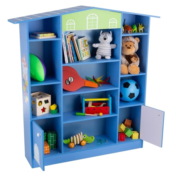 House Shaped Bookcase- Cottage Design Furniture for Books or Toys- for Children's Bedroom or Playroom by Hey! Play! (Blue)