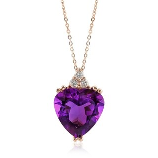14K Rose Gold 4.27ct TGW Amethyst and Diamond One-of-a-Kind Necklace