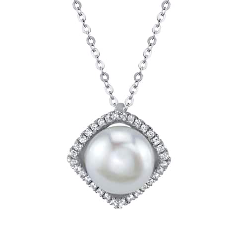 SERAFINA Cultured Button Pearl and Lab Created White Sapphire Sterling Silver Necklace