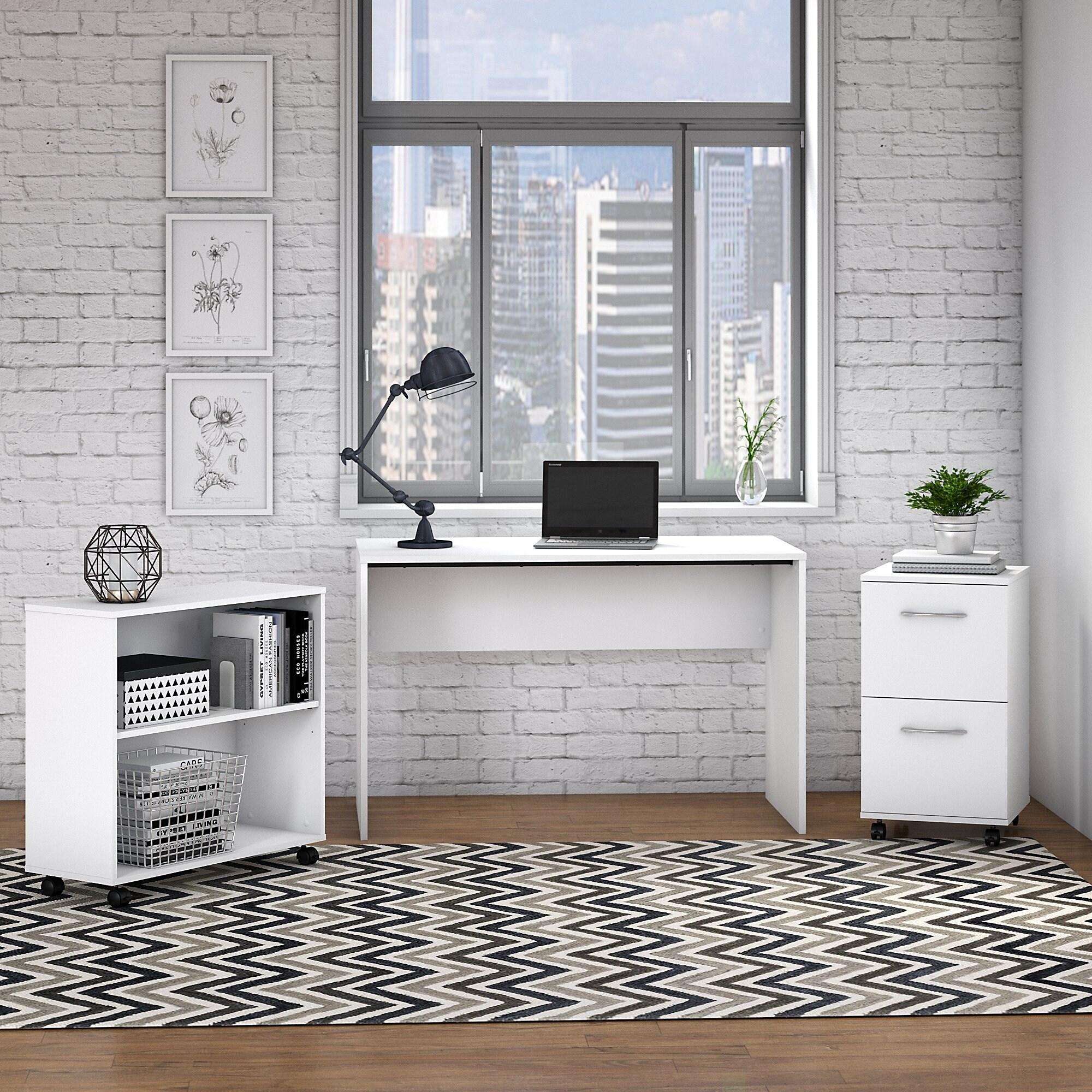 Copper Grove Pazardzhik Complete Small Desk With File Cabinet And Bookcase In White