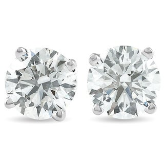 Pompeii3 14k White Gold 1 1/2 ct TDW Diamond Studs Screw Back Lab Grown Eco Friendly (I,VS)