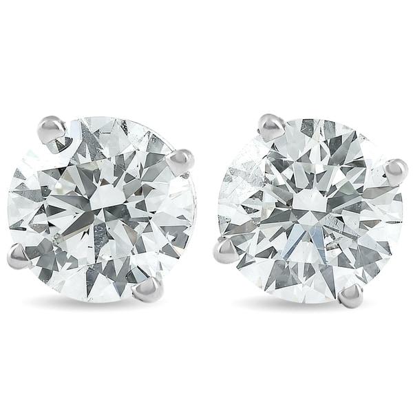 f6cfee1f0 Shop Pompeii3 14k White Gold 2 ct TDW Diamond Studs Screw Back Lab Grown  Eco Friendly (I,VS) - On Sale - Free Shipping Today - Overstock - 25582090
