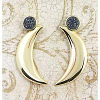 Moon Earrings with Black Titanium Druzy - 50mm