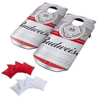 Link to Budweiser Cornhole Outdoor Game Set, 2 Wooden Anheuser-Busch Can-Shaped Corn Hole Toss Boards with 8 Bean Bags by Hey! Play! Similar Items in Outdoor Play