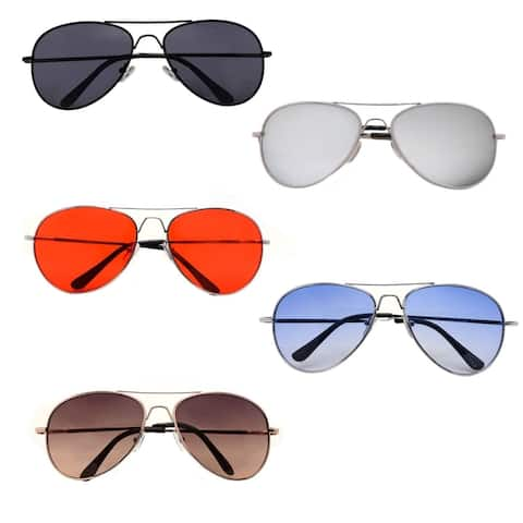 Classic Aviator Color Lens Sunglasses Small Size Spring Hinge Temple P2480
