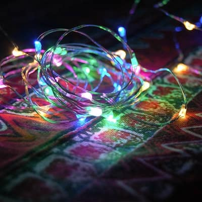 Fuji Labs Remote Controlled 100 Mini LED 10-Meter Multi-Color Multi-Mode Battery Powered String Light - 4 oz
