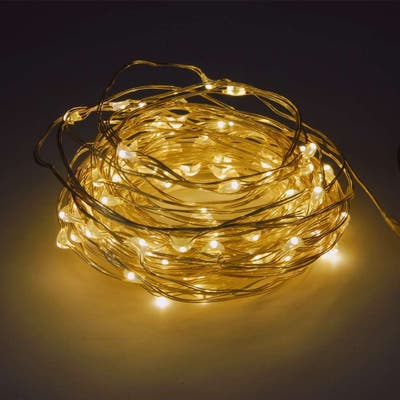 Fuji Labs Remote Controlled Battery Powered 100 LED 10 Meter Warm White Multi-Mode String Light - 0.21 lb