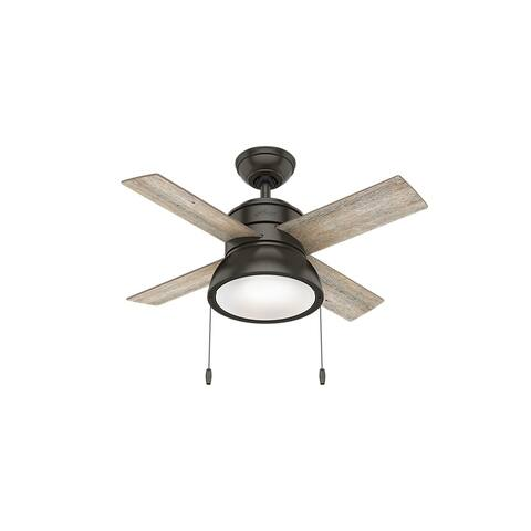 """Hunter 36"""" Loki Ceiling Fan with LED Light Kit and Pull Chain - Noble Bronze"""