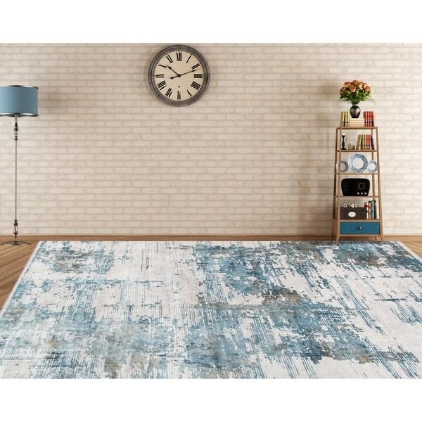 "Padua Abstract Carved Blue Viscose/ Acrylic Area Rug - 4'11"" x 7'6"""