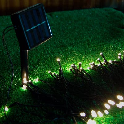 Fuji Labs 100 LED 10-Meter (32Ft) Warm White 2-Mode Solar String Light with Water-Resistant Green Jacket
