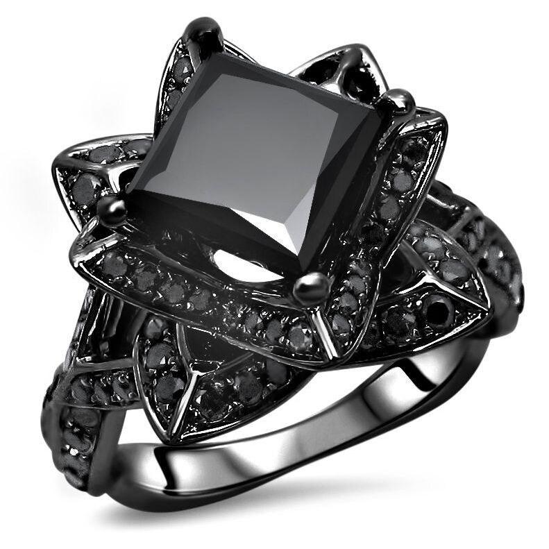 Shop 2 56 Ct Black Princess Cut Diamond Bridal Set Lotus Flower