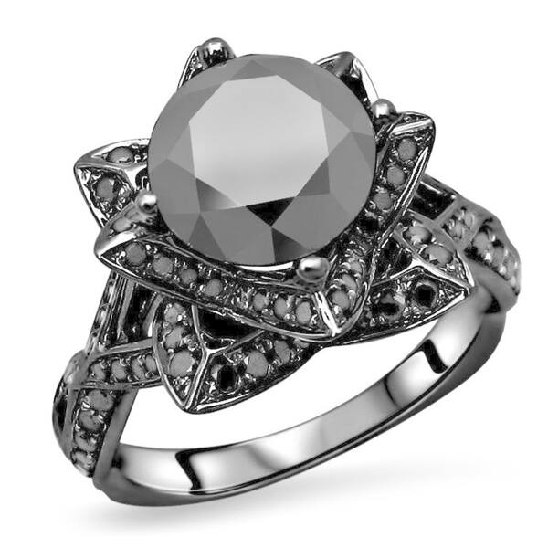 Shop 3 1 2 Ct Black Round Diamond Bridal Set Lotus Flower