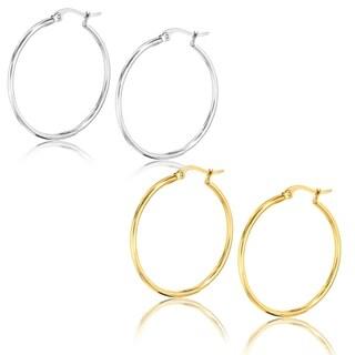ELYA Polished Stainless Steel Hoop Earrings