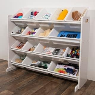 Cambridge Super-Sized Toy Organizer w/ 16 Plastic Bins, White & White