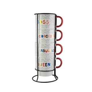 5pc mug set with metal rack 14oz