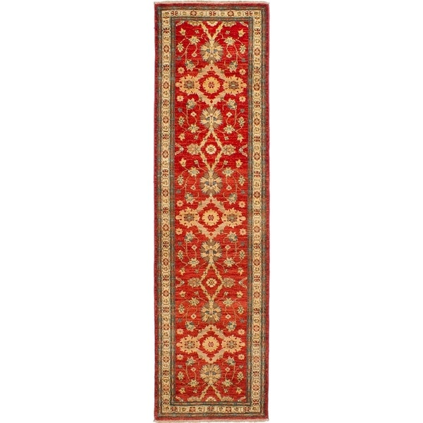 ECARPETGALLERY Hand-knotted Chobi Finest Red Wool Rug - 2'7 x 9'8