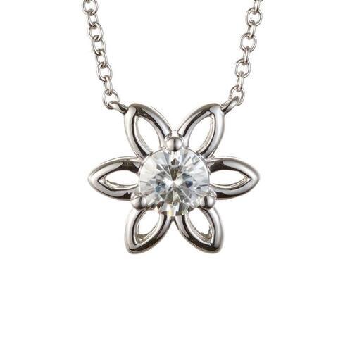 Charles & Colvard Sterling Silver 0.33 DEW Forever Classic Moissanite Solitaire Flower Pendant