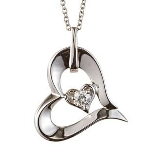 Charles & Colvard Sterling Silver 0.13 DEW Forever Classic Moissanite Solitaire Heart Pendant