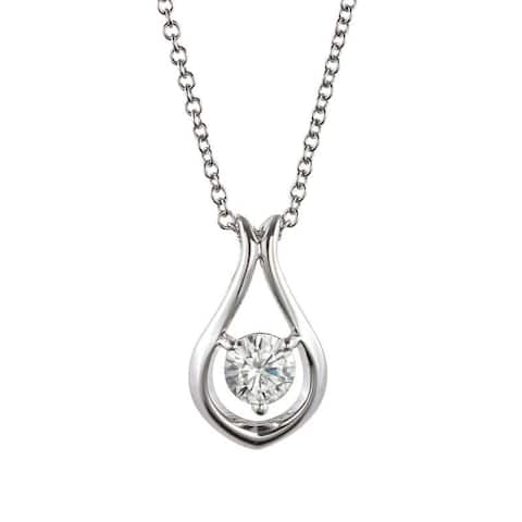 Charles & Colvard Sterling Silver 0.33 DEW Forever Classic Moissanite Solitaire Teardrop Pendant