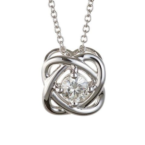 Charles & Colvard Sterling Silver 0.33 DEW Forever Classic Moissanite Solitaire Knot Pendant