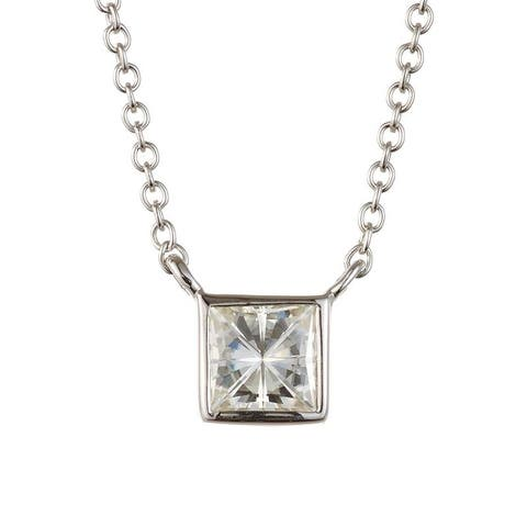 Charles & Colvard Sterling Silver 0.60 DEW Forever Classic Moissanite Square Solitaire Pendant