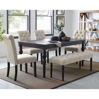 Leviton Urban Style Dark Wash Wood Dining Set: Table, 4 Chairs and Bench, Tan