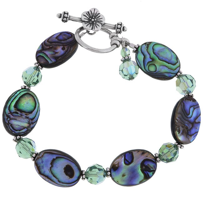 Lola's Jewelry Sterling Silver Paua Abalone Shell and Crystal Bracelet