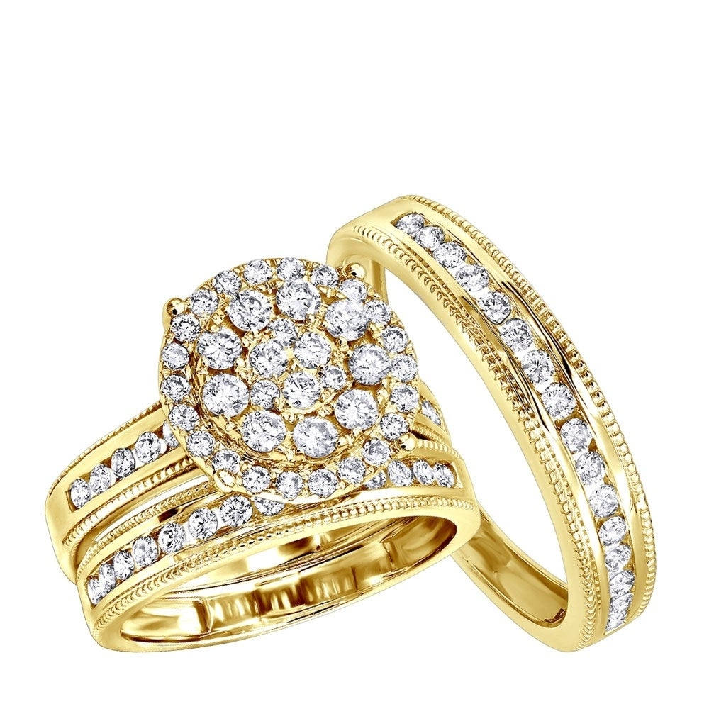 Shop Royal Trio Wedding Band Set Diamond Engagement Ring Set In 14k Gold 1 75ctw By Luxurman On Sale Overstock 25582927